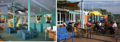 Images of the the Airport loung and outdoor cafe waiting area.