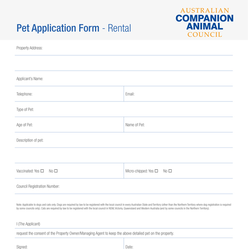 Image of Pet application and agreement form.
