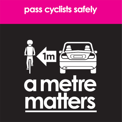 Link to 'a metre matters' Cycle Safe Communities informatin by Amy Gillet Foundation.