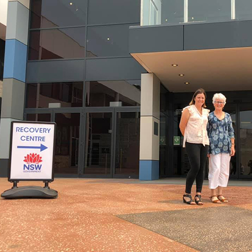 Bega Valley Mayor Kristy McBain with Recovery Centre Coordinator Anne Leydon