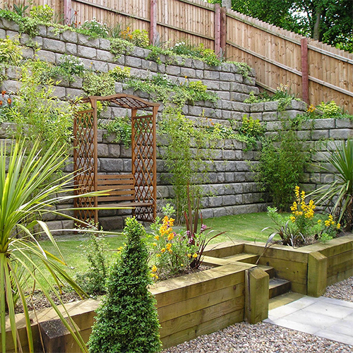 Image of back garden with retaining walls.