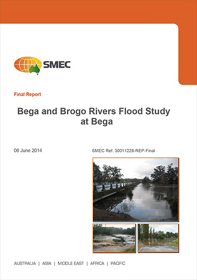 Cover image of the Bega and Brogo Rivers Flood Study.
