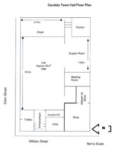 Floor plan of hall, click to view larger image.