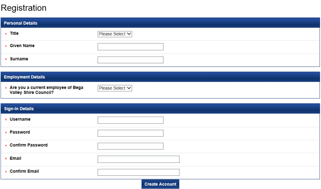 Image of registration page for eRecruit.