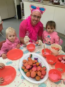 Bandara Children�s Services educator Daryl Kelland in the pink with (L-R) Olivia Doust and Tahli Eves.