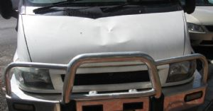 A car damaged by a falling branch at Merimbula airport.