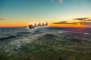 Santa flying over the Bega Valley