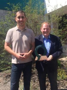 Council�s Environmental Management Coordinator, Daniel Murphy with Mayor Michael Britten and the Green Globe award.