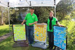 Council staff, Scott McNeil and Erin Kluit volunteering at the Cobargo listening post