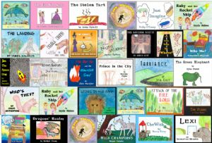 The covers of the books created by the young authors.