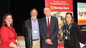 Anna Pino, Lighthouse Business Innovation Centre, Colin Dunn and Phil Smith, Bendigo Bank and Bega Valley Mayor, Cr Kristy McBain.