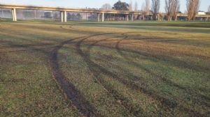 Deep gouges were left in the turf at the Roy Howard cricket ground by vandals.