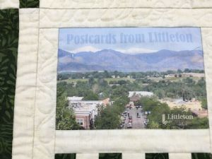 The quilted wall hanging entitled �Postcards from Littleton� presented to Bega Valley Shire Council at this week�s civic dinner.