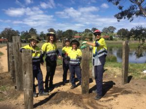 Green Army crew at the Rawlinson wetland path (L-R) Connor Witcombe, Lachlan Rubly, Wayne Rootsey, Emily Pearce, Tyler McCulloch.