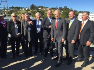 Bega Valley Shire Councillors, General Manager, Leanne Barnes and local Federal Member, Peter Hendy with Prime Minister, Malcolm Turnbull in Eden.