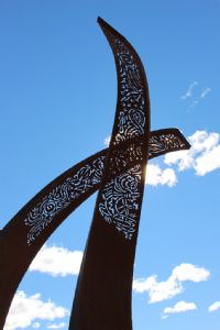 The Two Rivers Sculpture in Littleton Gardens will soon have lightening and an information plaque installed.