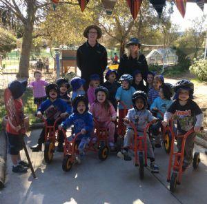 Bandara Preschool teachers, Daryl Kelland and Amanda Bradfield with the little �bikies�.
