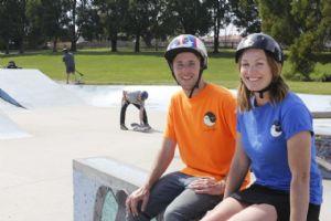 Ownlife, skateboarding teachers Richard Flude and Rachel Delphin. Photo from ABC Tasmania.