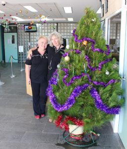 Council Contact Centre staff Ann Fagan and Liz Brennan with the Giving Tree