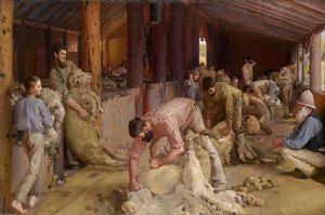 Shearing the rams. Painted at Brocklesby station, Corowa, New South Wales, and Melbourne 1888�90. Oil on canvas mounted on board 121.9 x 182.6 cm. National Gallery of Victoria, Melbourne, Felton Bequest Fund, 1932.
