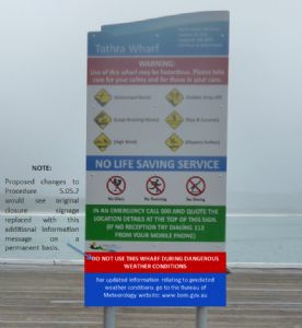 Proposed new signage for Tathra and Merimbula Wharves.
