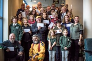 Happy faces representing a number of community organisations at the Bega Valley Club Grants presentation