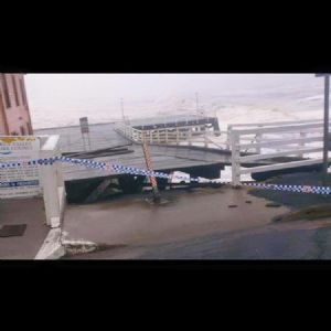 The power of the ocean lifted the Wharf�s timber decking up off its pylons