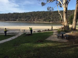 The Green Army helping beautify the community space at Pambula River mouth
