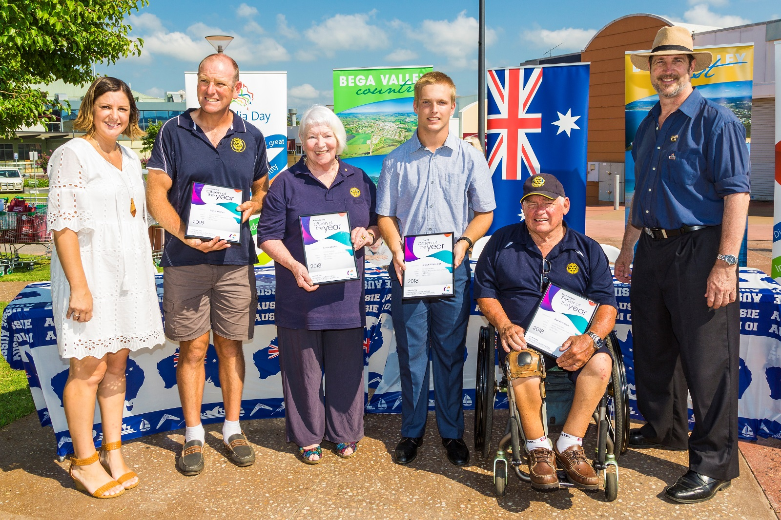 Mayor Kristy McBain with 2018 awardees Dane Waites, Junee Waites, Shaun Fitzpatrick, Ron Finneran, Australia Day Ambassador Nick Rheinberger.