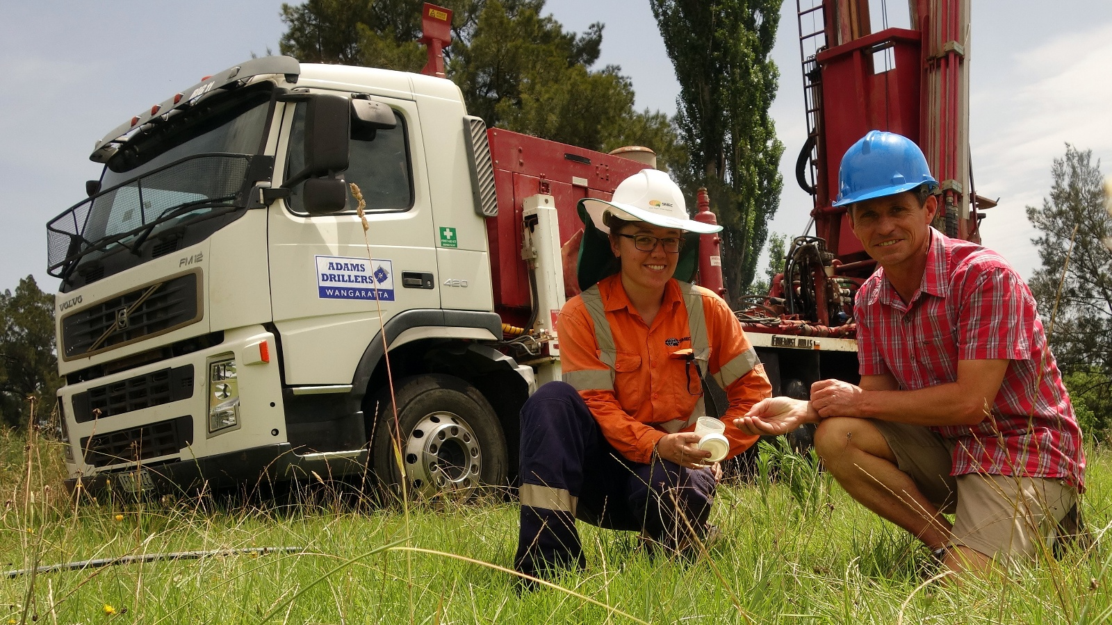 Geologist Ingrid Farr and Bega Valley Shire Council Water Resources Coordinator Ken McLeod sampling sediment from a drilled bore at the Bega borefield.