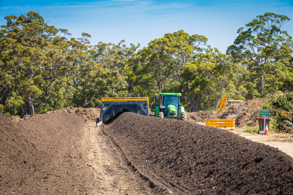 Image of compost being made a council's waste facility.