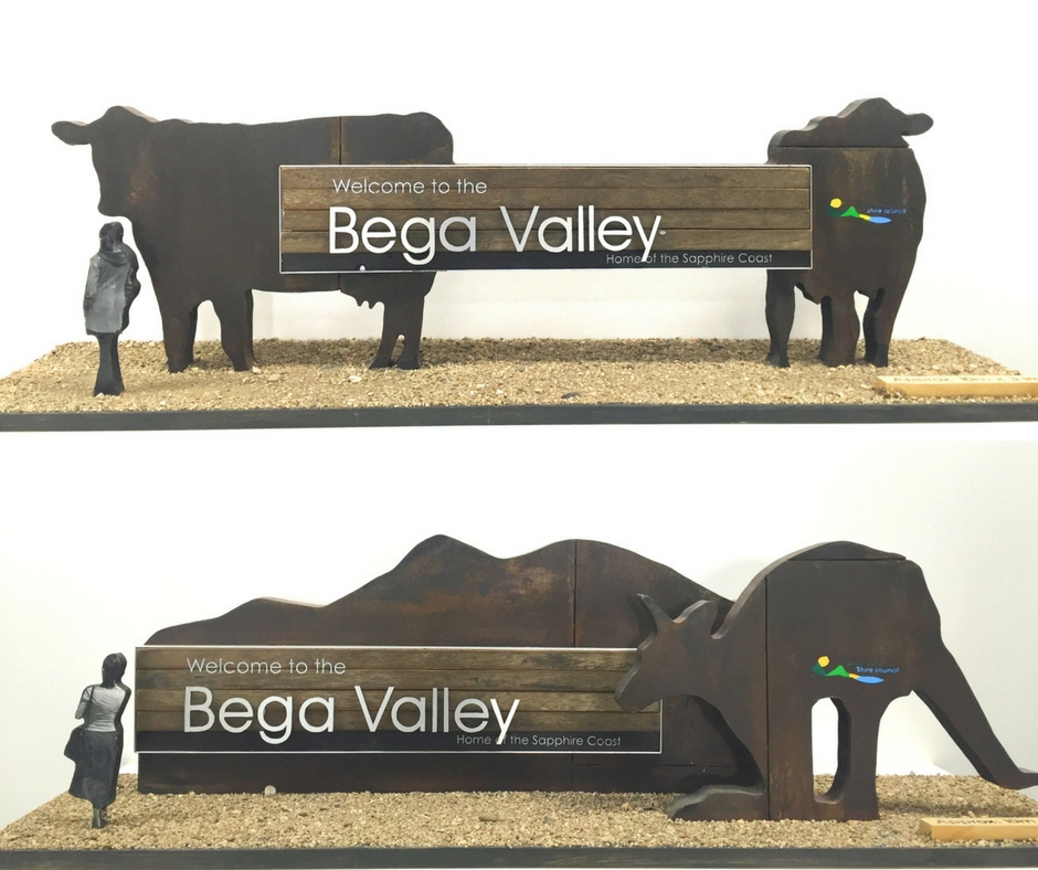 Concept scale designs of the gateway signs for Bega Valley Shire.