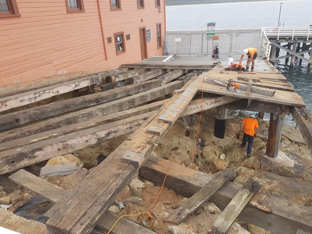 Image of the deck repairs starting at the Tathra wharf.