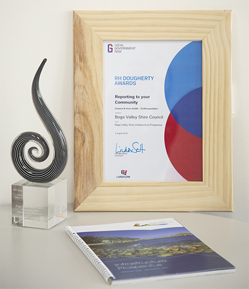 RH Dougherty Award, troph, certificate and the Infrastructure Prospectuse.