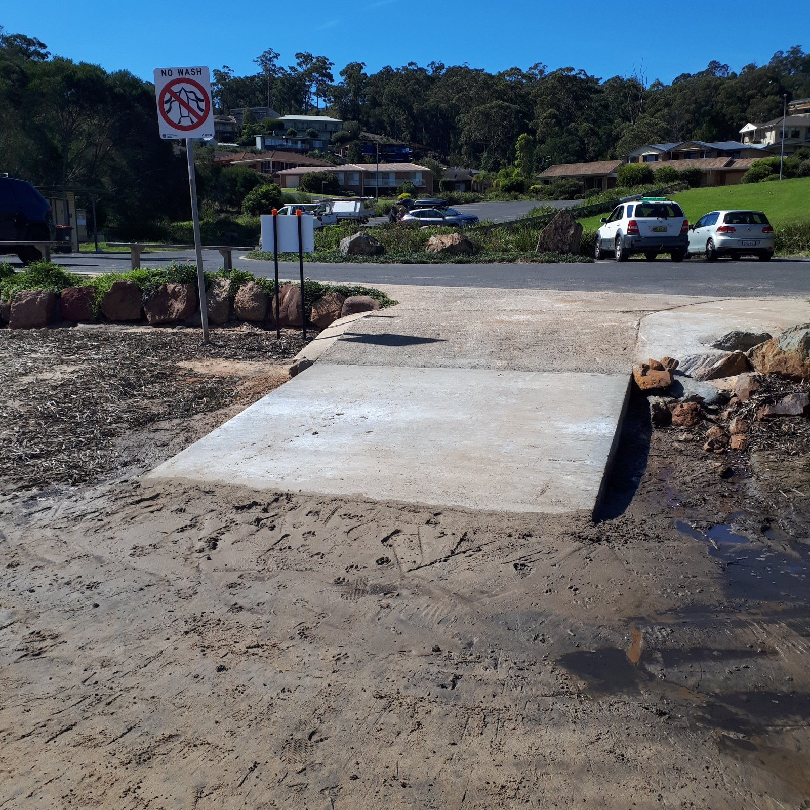 Merimbula Top Lake boat ramp.