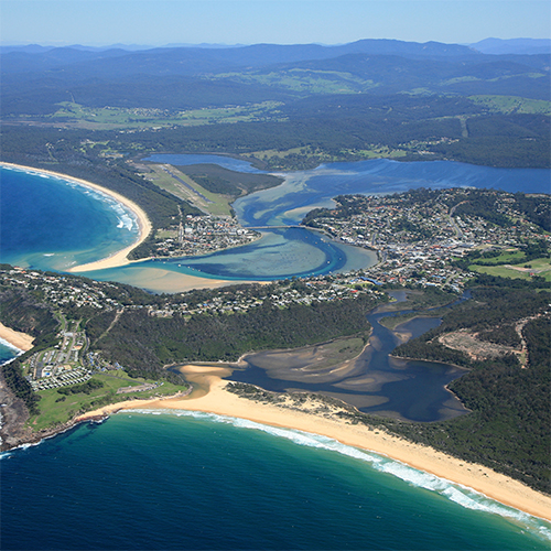 Aerial shot of Merimbula and airport.