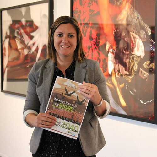 Image of Councillor Kristy McBain with the draft Community Strategic Plan.