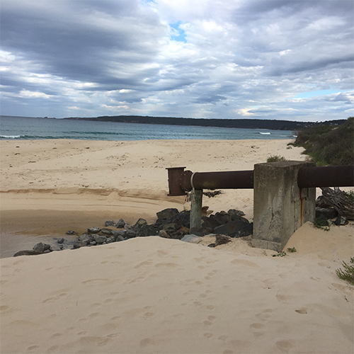 Merimbula Sewage Treatment Plan ocean outfall.