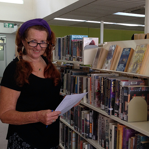 Sheryl Drummond volunteering at Bega Library.