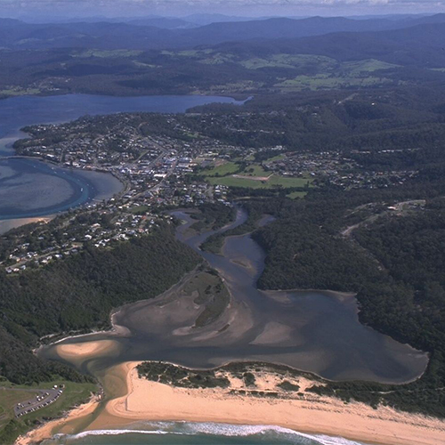 Aerial view of Back Lake and Merimbula Lake at Merimbula.