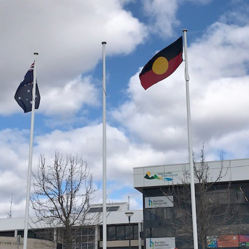 Aboriginal and Australian flags fly side by side in Littleton Gardens, Bega.