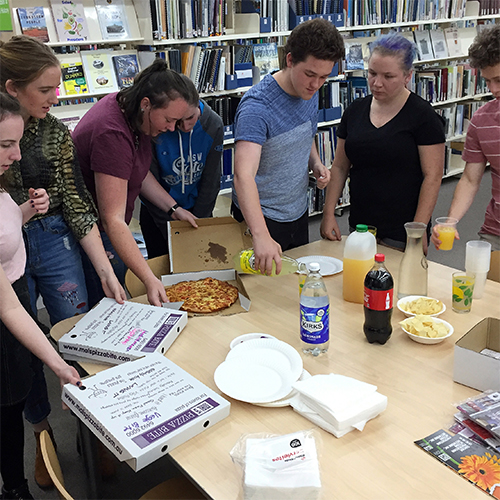 Bega Valley Shire students enjoy pizza at last year's HSC Lockdown in Bega Library.