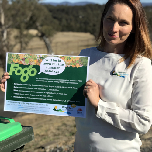 Bega Valley Council's new FOGO project officer, Kimberley Rushbrook, will provide information and answer questions about helping tourists use FOGO at drop-in sessions for holiday accommodation managers in August and September.