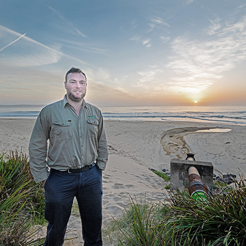 Bega Valley Shire Council's Treatment Plant Coordinator, Jason Darcy, at the Merimbula  beach-face outfall.