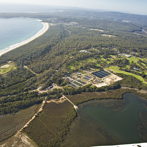 Merimbula Sewage Treatment Plant and Merimbula Bay from the air.