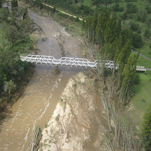 Towamba River in flood at the location of New Buildings bridge Bega Valley Shire New South Wales