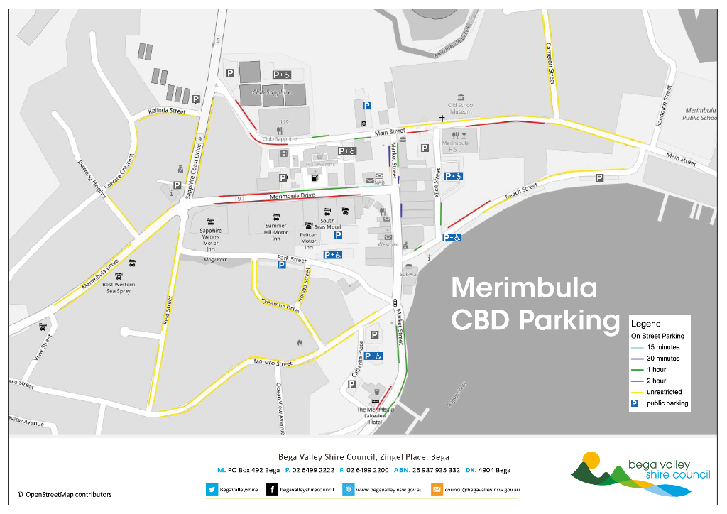 Merimbula central business district parking map.