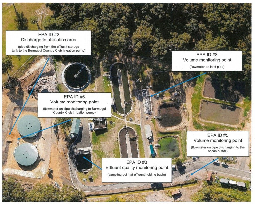 Bermagui sewage treatment plant monitoring and discharge locations.
