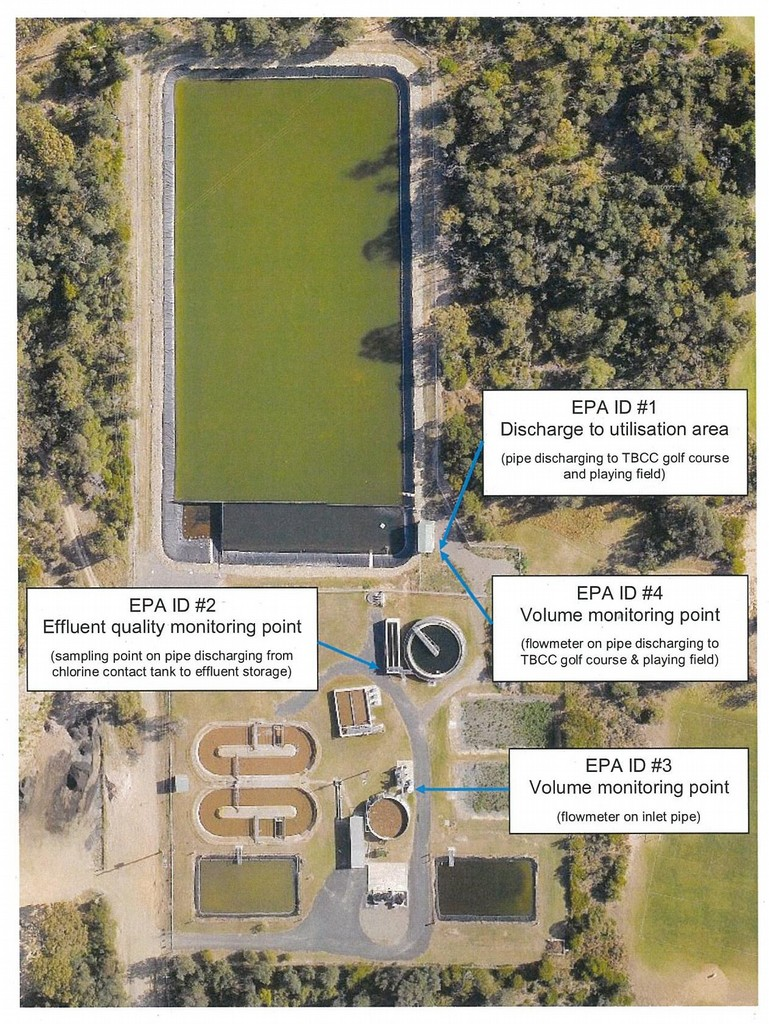 Tathra sewage treatment plant monitoring and discharge locations.