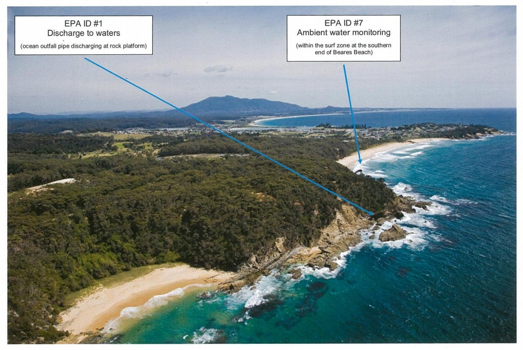Bermagui sewage treatment plant discharge locations.